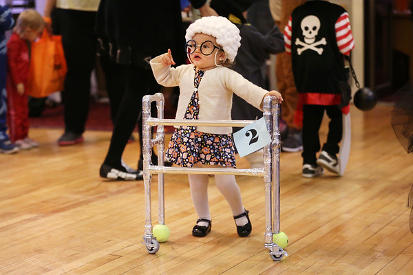 HADLEY GREEN/Staff photo<br /> One-year-old Grace Entwistle of Gloucester won the costume contest for the zero to four age group at the Nightmare on Main Street celebration at the Knights of Columbus in Peabody.<br /> <br /> 10/25/17