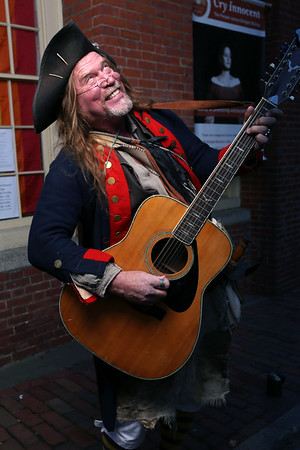 """HADLEY GREEN/Staff photo<br /> """"Captain Snitch"""" performs outside The Salem Museum on Halloween.<br /> <br /> 10/31/17"""
