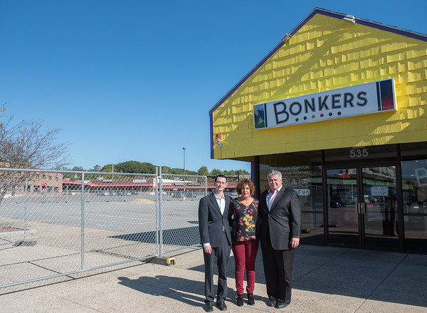 AMANDA SABGA/Staff photo. <br /> <br /> Alfred and Pam Yebba with their son Alexander. The Yebba's broke ground on the Bonkers plaza with plans for renovation.<br /> <br /> 10/17/17