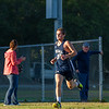 AMANDA SABGA/Staff photo. <br /> <br /> Hamilton-Wenham's Jack Sturim finishes in second during a cross country meet between Manchester Essex and Hamilton-Wenham at Patton Park in Hamilton. <br /> <br /> 10/18/17