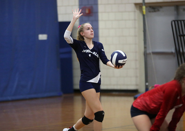 HADLEY GREEN/ Staff photo<br /> The Generals' Evelyn Easdon (1) prepares to serve to Peabody during the girls volleyball game at Hamilton Wenham high school. <br /> <br /> 10/08/2018