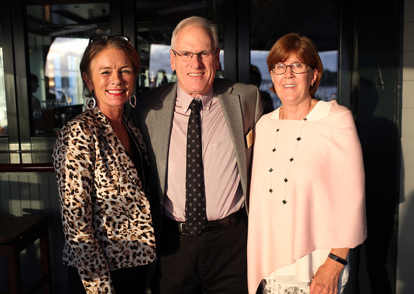 HADLEY GREEN/ Staff photo<br /> From left, Karen O'Kane of the Hawthorne Hotel, Dick McKinley of Sagan Harborside Sotheby's International Realty and Barbara McKinley attend the Marblehead Chamber of Commerce annual meeting and community awards at the Corinthian Yacht Club in Marblehead.<br /> <br /> 09/21/2018