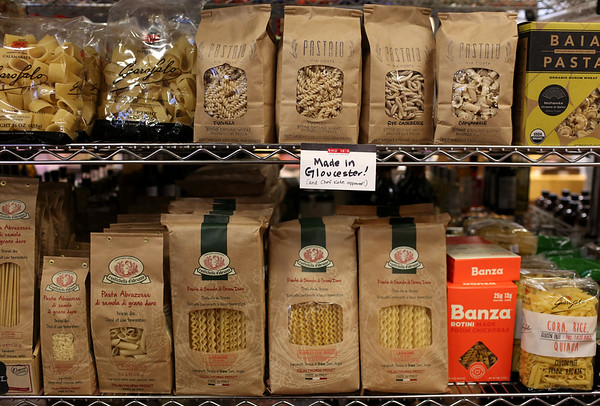 HADLEY GREEN/ Staff photo<br /> Local pastas are for sale in the dry goods section at Shubie's in Marblehead.<br /> <br /> 10/16/2018