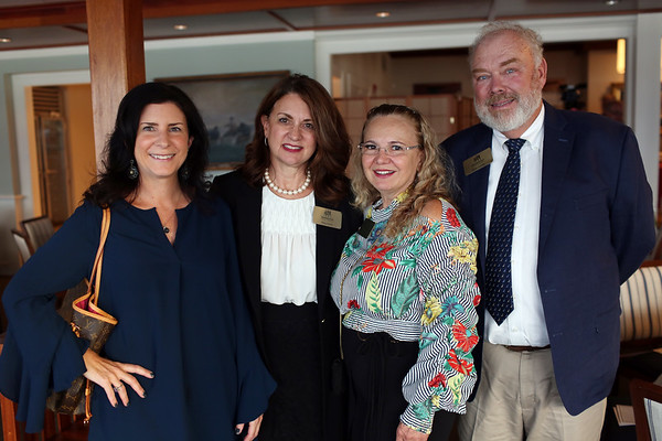 HADLEY GREEN/ Staff photo<br /> From left, Deb Payson of MIT, Patty Smith of Salem Five, Nancy Mantilla of Flores Mantilla and attorney Brian LeClair attend the Marblehead Chamber of Commerce annual meeting and community awards at the Corinthian Yacht Club in Marblehead.<br /> <br /> 09/21/2018