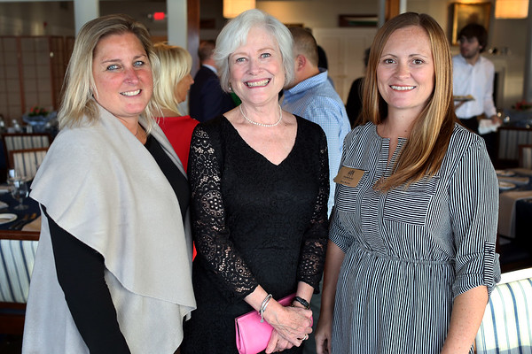HADLEY GREEN/ Staff photo<br /> From left, Trista Christensen, Maryanne Grebensein of The Abbey Studio and Amy Bucher of Amy Bucher Photography attend the Marblehead Chamber of Commerce annual meeting and community awards at the Corinthian Yacht Club in Marblehead.<br /> <br /> 09/21/2018