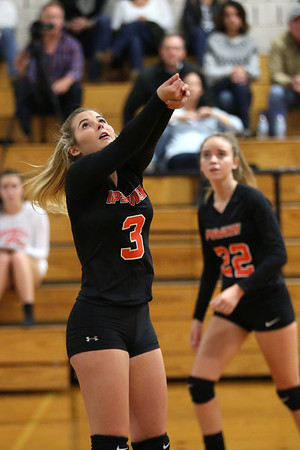 HADLEY GREEN/ Staff photo<br /> Ipswich's Haley O'Connor (3) hits the ball at the Hamilton-Wenham v. Ipswich girls volleyball game. <br /> <br /> 10/15/2018