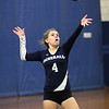 HADLEY GREEN/ Staff photo<br /> The Generals' Tori Belise (4) serves to Peabody during the girls volleyball game at Hamilton Wenham high school. <br /> <br /> 10/08/2018