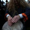 HADLEY GREEN/ Staff photo<br /> Andy Burke, a sacred drummer, keeps the beat during the Salem Witches' Magic Circle on Halloween night in Salem.<br /> <br /> 10/30/2018