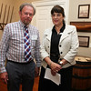 AMY SWEENEY/Staff photo.<br /> Dan Lohnes, president of the Beverly Historic Society with Director Sue Goganian. <br /> The opening of a new exhibit by the Beverly Historical Society at the John Cabot House in Beverly.