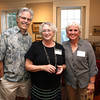 AMY SWEENEY/Staff photo.<br /> John Cuffe, left, Terri McFadden, in charge of research and education at the Beverly HIstorical Society, and Jaye Cuffe, at the opening of a new exhibit McFadden put together for the Beverly Historical Society at the John Cabot House in Beverly.<br /> Opening Sept. 8, 2016<br /> John Cabot House<br /> Beverly