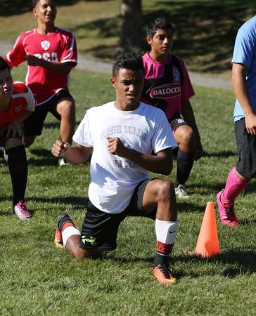 KEN YUSZKUS/Staff photo.     Giovanny Guzman at Salem High School soccer practice.    09/13/16