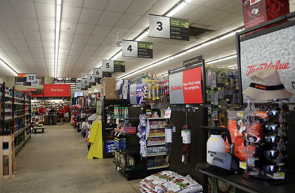 DAVID LE/Staff photo. A long-time family run business, Dawson's TrueValue Hardware Store on Enon Street in North Beverly, is selling its Beverly store to Aubuchon Hardware. A few neatly arranged isles in the store. 9/1/16.