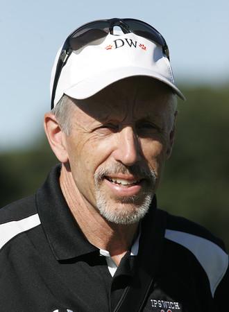 KEN YUSZKUS/Staff photo.  Coach Steve Lamson of Ipswich at the Ipswich at Hamilton-Wenham golf match.      9/12/16