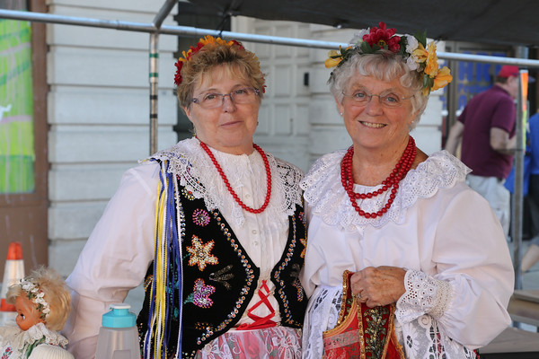 Photo/Reba Saldanha Alice Zujewski and sister Jane Leach in Polish garb at the international festival in Peabody Square Sunday Sept 11, 2016.