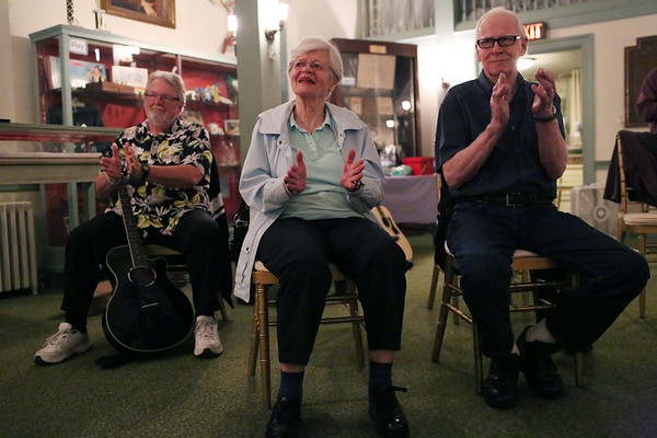 HADLEY GREEN/Staff photo<br /> People applaud at the Open Mic hosted by the Danvers Historical Society at Tapley Memorial Hall.<br /> 09/20/17