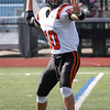 HADLEY GREEN/Staff photo<br /> Beverly's Nick Berry (10) looks for a pass at the Lynn English v. Beverly football game at the Manning Field in Lynn.<br /> 09/09/17
