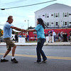 HADLEY GREEN/Staff photo<br /> Ted and Dee Pilkons of Peabody dance to live music at Peabody's block party on Chestnut Street next to City Hall. <br /> 09/08/17