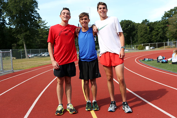 HADLEY GREEN/Staff photo<br /> Peabody High cross country captains William Aylward, Shane Braz, and Marc Alperen.<br /> 08/31/17