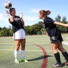 HADLEY GREEN/Staff photo<br /> Beverly girls soccer captains Stephanie Macleod and Aly Barr practice headers.<br /> <br /> 08/31/17