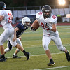HADLEY GREEN/Staff photo<br /> Marblehead's Derek Marino (85) runs up the field at the Peabody v. Marblehead boys varsity football game at Peabody High School.<br /> 09/23/17