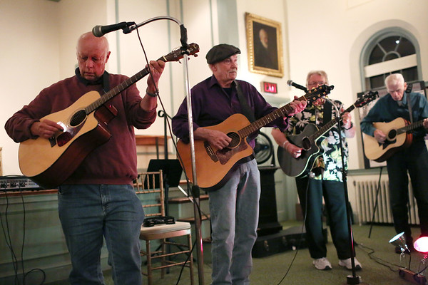 HADLEY GREEN/Staff photo<br /> People play music at the Open Mic hosted by the Danvers Historical Society at Tapley Memorial Hall.<br /> 09/20/17