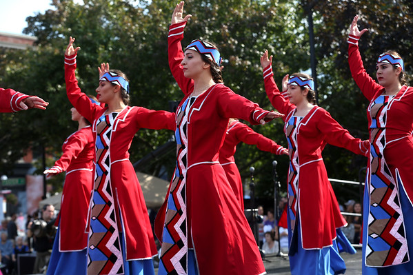 HADLEY GREEN/Staff photo<br /> Sayat Nova Dance Company, an Armenian dance group based in Watertown, performs at Peabody's International Festival on Sunday afternoon.<br /> 09/10/17