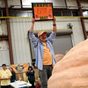 HADLEY GREEN/Staff photo<br /> Steve Sperry of Rhode Island celebrates after his 1,938 pound pumpkin comes in second at the Giant Pumpkin Weigh-Off at the Topsfield Fair.<br /> 09/29/17