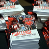"RYAN HUTTON/ Staff photo<br /> Copies of the book ""The Ice Bucket Challenge"" by Casey Sherman and Dave Wedge were for sale at the State Street Pavilion at Fenway Park on Monday night during an event to launch the book and honor its subject, Beverly native and ALS sufferer Pete Frates."
