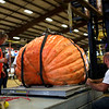HADLEY GREEN/Staff photo<br /> A 863.5 pound pumpkin, grown by Norman Gansert in Rhode Island, is weighed at the Giant Pumpkin Weigh-Off at the Topsfield Fair.<br /> 09/29/17