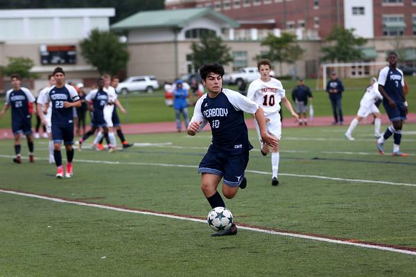 HADLEY GREEN/Staff photo<br /> Peabody's Giovani Lumaj (10) dribbles the ball at the Beverly v. Peabody boys varsity soccer game at Beverly High School.<br /> 09/20/17