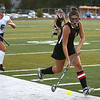 HADLEY GREEN/Staff photo<br /> Marblehead's Carolyn Arthur (8) sprints up the field at the Peabody v. Marblehead girls varsity field hockey game at Peabody High School.<br /> 09/26/17