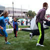 HADLEY GREEN/Staff photo<br /> Kids play tag on the lawn next to Peabody's City Hall during the city's block party. 09/08/17