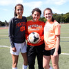 HADLEY GREEN/Staff photo<br /> Beverly girls soccer returning players Jordan Butters, goalie Julia Pitman, and Anna Edson. <br /> <br /> 08/31/17