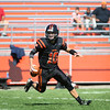 HADLEY GREEN/Staff photo<br /> Beverly's Nick Berry (10) runs with the ball before making a pass at the Beverly v. Malden boys varsity football game held at the Hurd Stadium in Beverly. <br /> 09/23/17