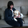 HADLEY GREEN/ Staff photo<br /> Allison Camire sits with her guide dog, Kennedy, at her home in Beverly.<br /> <br /> 09/24/2018