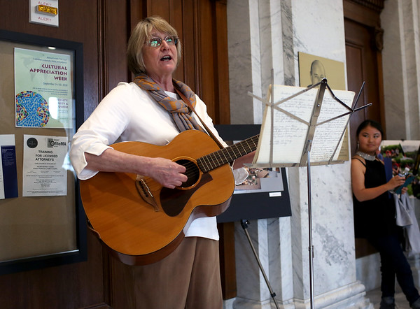 HADLEY GREEN/ Staff photo<br /> Beverly Johnson, a probation officer, performs Scandinavian songs at the Massachusetts Trial Court Cultural Appreciation Week celebration at the Essex Probate and Family Court in Salem.<br /> <br /> 09/28/2018