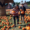HADLEY GREEN/ Staff photo<br /> Samantha Barbieri and Costa Hatziioannou of Danvers shop for pumpkins at Connors Farm in Danvers.<br /> <br /> 09/24/2018