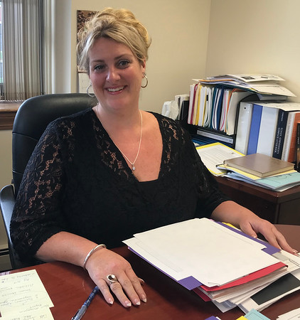 Ethan Forman/Staff photo<br /> <br /> Peabody schools Superintendent Cara Murtagh sits in her office across from City Hall. This is Murtagh's first year as superintendent, after six years as the assistant superintendent and 14 years as a principal and teacher in the district.