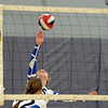 RYAN HUTTON/ Staff photo<br /> Danver's Jianna Durand fires a shot over the net during Monday's volleyball match against  Hamilton-Wenham at Danvers High School.