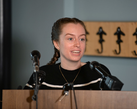 RYAN HUTTON/ Staff photo<br /> Student pilot Maggie Taraska, 17, speaks at a news conference at the Beverly Airport on Monday after she she made a successful emergency landing on Sunday when one of her plane's wheels fell off during takeoff.
