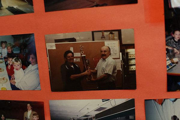 HADLEY GREEN/ Staff photo<br /> Old photos are seen on the walls at the liquidation sale at Bowl-O-Mat in Beverly.<br /> <br /> 09/26/2018