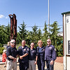 From left, retired MA-TF 1 staff Miles Schlichte, staff member Michael Gomes, Ed Seligman, Plans Team Manager Chris Hennigan, and Rescue Fire Manager Dennis Macedo during a ceremony in association with Historic Beverly at the Massachusetts Task Force 1 FEMA Urban Search & Rescue headquarters in Beverly in observance of the 20th anniversary of the World Trade Center terror attacks in New York City on September 11, 2001.<br /> <br /> JAIME CAMPOS/Staff photo 9/11/2021
