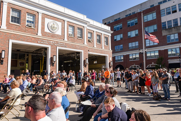 A large gathering residents and guests turned out during a ceremony at the Salem Fire Department in Salem in observance of the 20th anniversary of the World Trade Center terror attacks in New York City on September 11, 2001.<br /> <br /> JAIME CAMPOS/Staff photo 9/11/2021