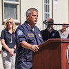 FEMA staff member Michael Gomes addresses attendees during a ceremony in association with Historic Beverly at the Massachusetts Task Force 1 FEMA Urban Search & Rescue headquarters in Beverly in observance of the 20th anniversary of the World Trade Center terror attacks in New York City on September 11, 2001.<br /> <br /> JAIME CAMPOS/Staff photo 9/10/2021