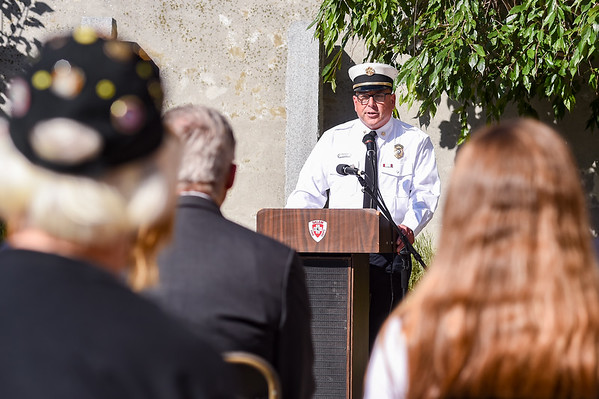 Fire Chief Alan Dionne addresses attendees during a ceremony at the Salem Fire Department in Salem in observance of the 20th anniversary of the World Trade Center terror attacks in New York City on September 11, 2001.<br /> <br /> JAIME CAMPOS/Staff photo 9/10/2021