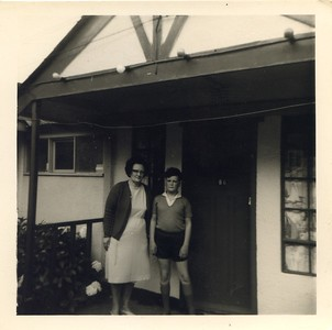 Outside Butlins Chalet with mum