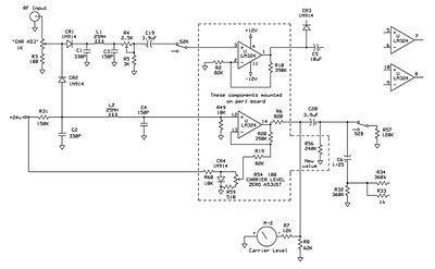 The schematic for the amplifiers for increasing the input sens.