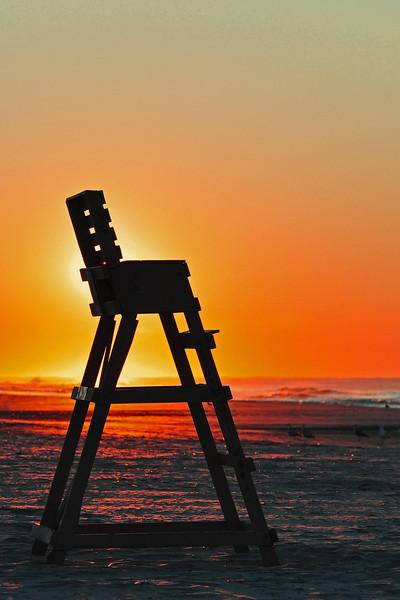 Sunrise and lifeguard chair - Wildwood Crest, NJ - 2011