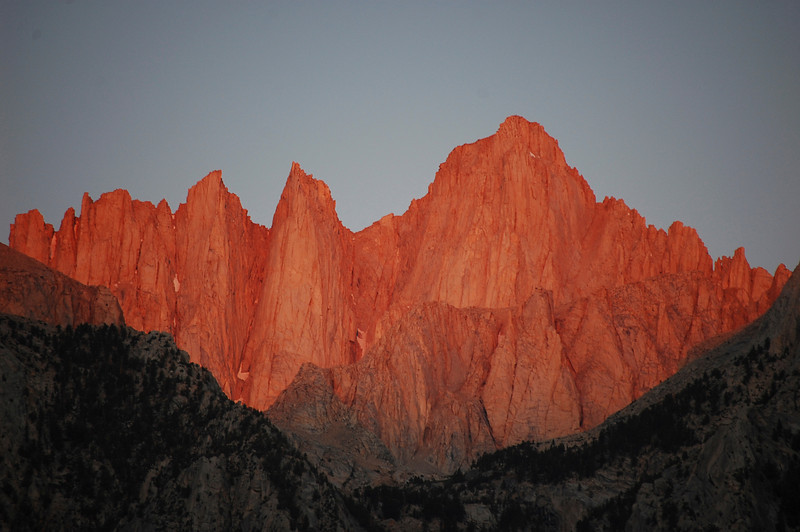 Mount Whitney at dawn as viewed from Lone Pine campground