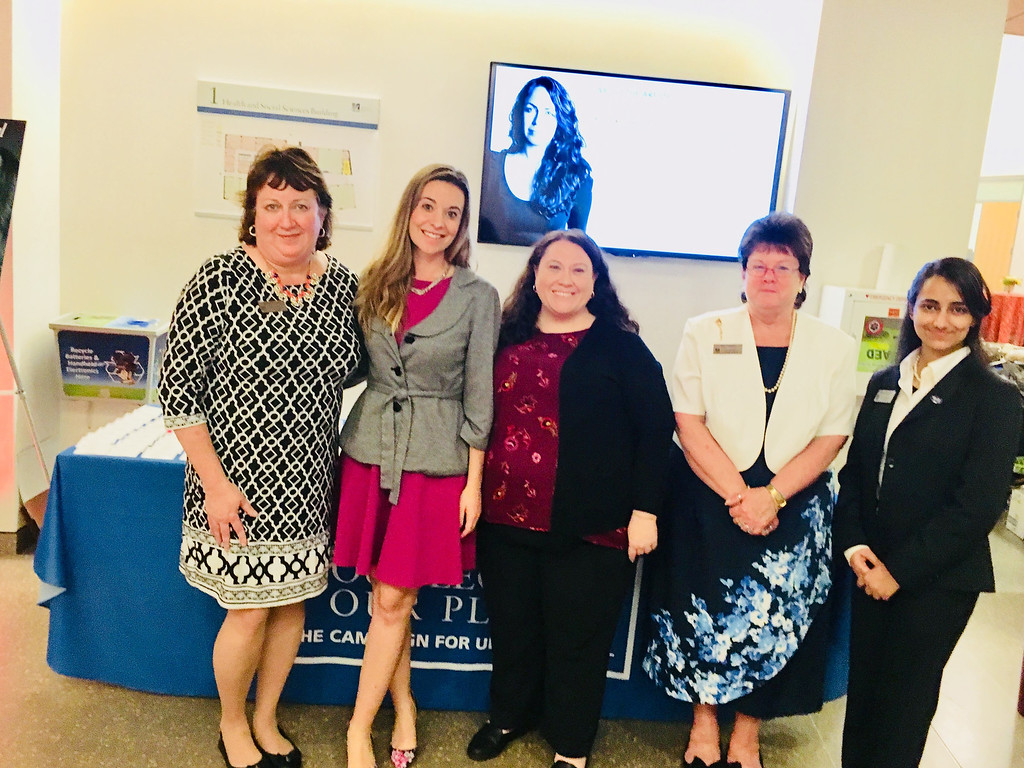 . From left, UMass Lowell�s Kathy Sullivan of Hudson, N.H., Heather Makrez of Chelmsford, Carolyn Rolfe of Acton and Lisa Gagnon of Methuen, with student alumni ambassador Surbhi Mavi of Lowell